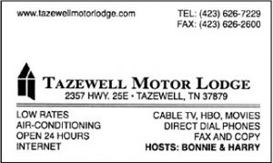 Tazewell Motor Lodge Business Card